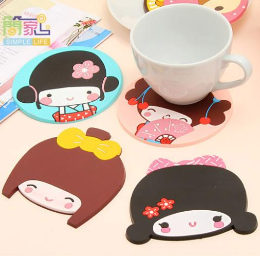 1 Pieces Hot Sale New Fashion Cartoon Silicone Button Cup Mat Antiskid Insulated Pad Wholesale(China (Mainland))