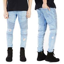 2016 Для мужчин обтягивающие джинсы Для мужчин взлетно-посадочной полосы Тонкий гонщик Байкер Джинсы для женщин Strech хип-хоп Джинсы для женщин...(China)