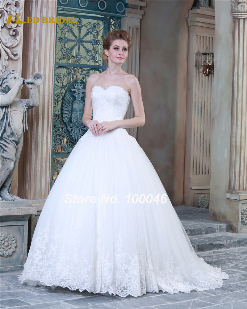 Vestido De Noiva 2015 Sweet Princess Tulle Ball Gown Wedding Dresses French Lace Real Photo