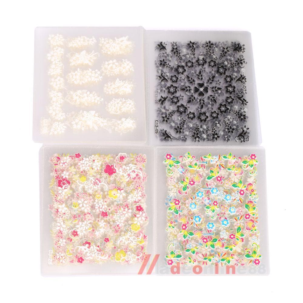 50PCS Sparkling 3D Nail Art Sticker Decal Flower Makeup Tips M3AO(China (Mainland))