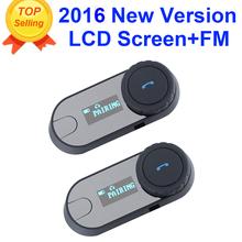 2 unids 2016 Actualizado TCOM-SC BT Interphone Bluetooth Casco de La Motocicleta Intercom Headset con pantalla LCD + Radio FM(China (Mainland))