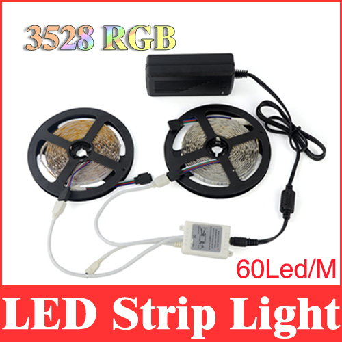 led strip 3528 rgb 10m smd non-waterproof 60 leds/m light strips + dc 5a 12v power supply + 44 keys ir remote controller RS13(China (Mainland))