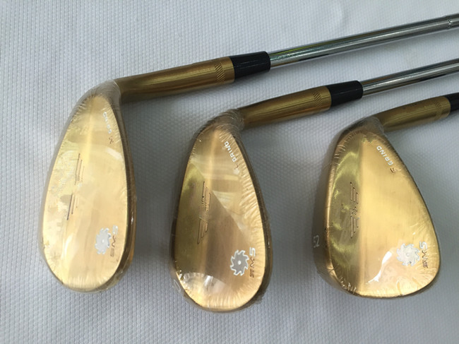 """Gold SM5 Wedges SM5 Golf Wedge OEM Golf Clubs 52""""/56""""/60"""" Degree Regular/Stiff Steel Shaft With Head Cover(China (Mainland))"""