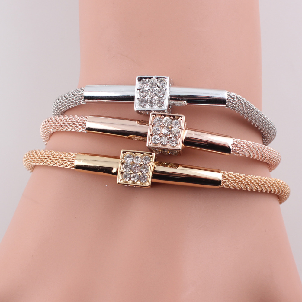 Vintage Cube Dice Crystal Bangles 2016 Magnetic Clasp Fashion Women Multilayer Chain Bracelet Pubseiras Women Jewelry JJAL B467(China (Mainland))