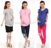 Maternity Tops Summer 2016 New Fashion Pregnant Women Clothing Knitted Cotton V-Neck Pleated Gravida T-Shirt Pregnance Tops Tees(China (Mainland))