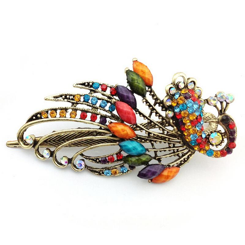 Hair Clips Women Girls Crystal Peacock Big Hairpins Hair Accessories Barrette Donut Hair Style