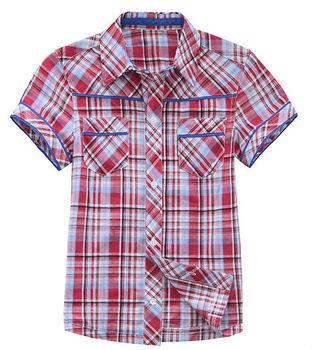 Wholesale 6 pcs summer blue red plaid Children Child boy Kids baby short sleeve cotton shirt T-shirt children clothing PEXS03P29