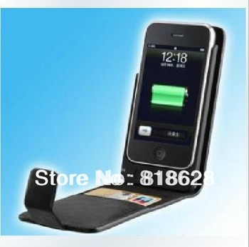 Free Shipping New 1800mAh Back Leather Case External Backup Battery for iPhone 3G/3GS Wholesale
