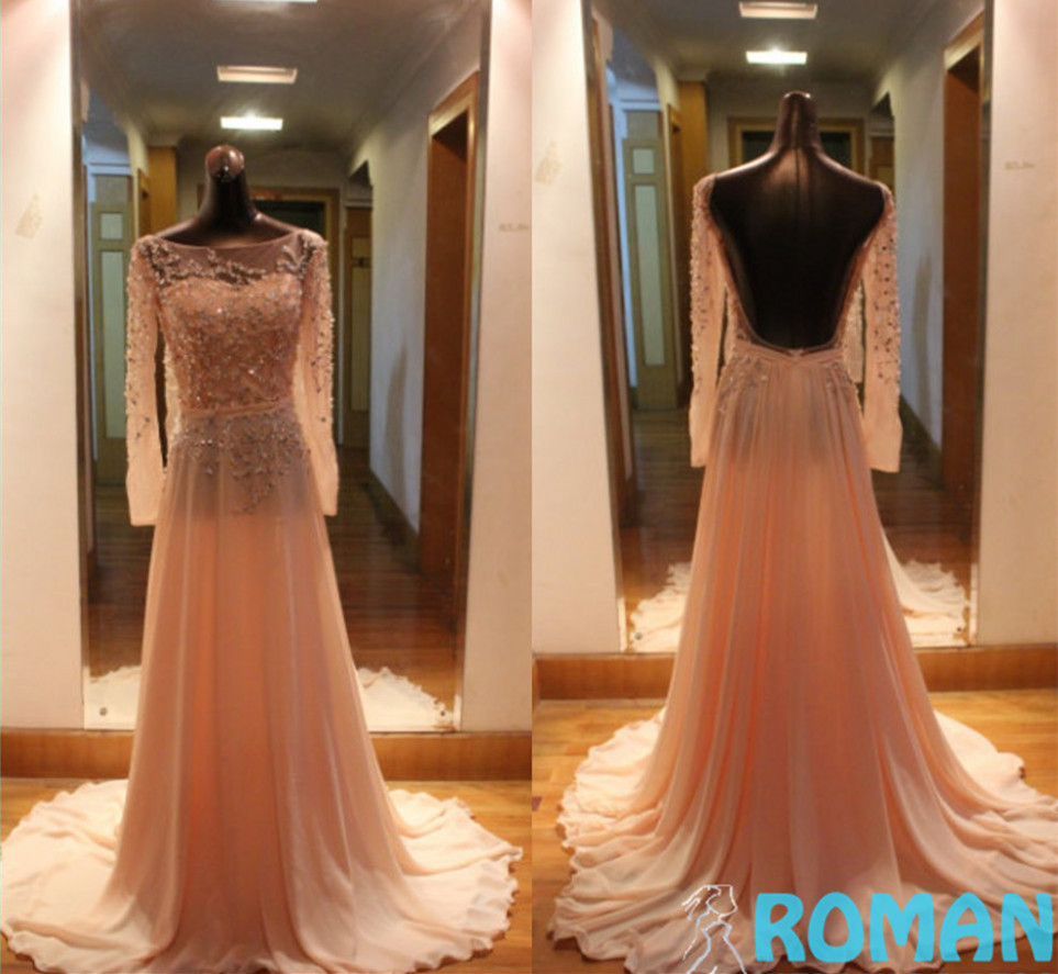 Light Pink Trumpet Chiffon Pleat Small Beads Beaded Bateau Neck Long Sleeves Backless Lovely 2015 Lady Party Prom Dresses - Sheepherder Store store