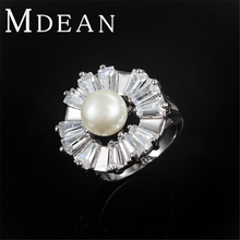 Luxury Pearls Ring Platinum Filled Jewelry AAA zircon Finger bague ring for women Exaggerate engagement bijouterie accessorie(China (Mainland))