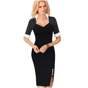 Горошек 2015 элегантных женщин лоскутные кнопки площади шеи платье оболочки Bodycon ...