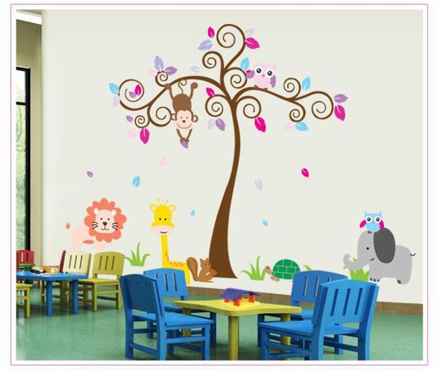 Обезьяна слон лев зоопарк животных 148 * 190 см стены стикеры для детской комнаты 5108 декор стены съемный пвх наклейки на стены декоративные DIY