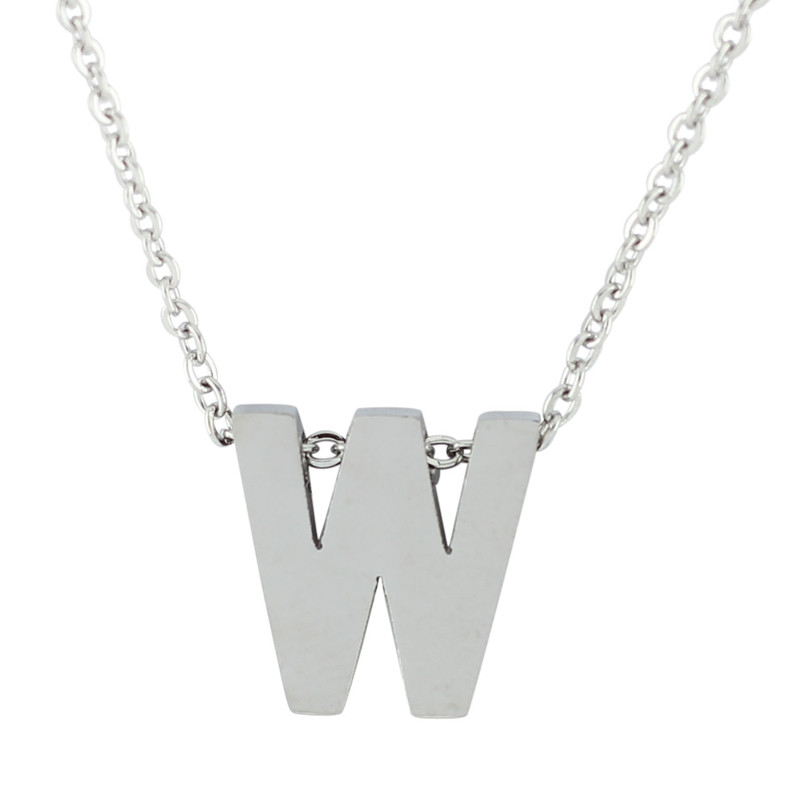 18'' Letter Alphabet Pendant Necklace - W