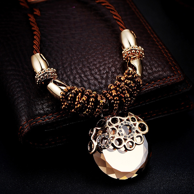 2015 Latest Design Brown Austria Crystal Round Hollow Metal Rope Chain Vintage Ethnic Style Pendant Necklace Women Lady - China West Coast Co.,Ltd store