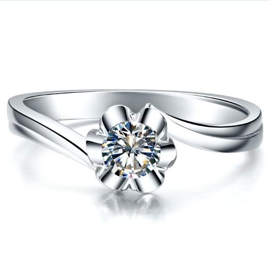 0.25 Carat Solid Gold 14K Flower Shape Popular Simulate Diamond Women Wedding Ring Fine Wedding Jewelry Retail&wholesale(China (Mainland))