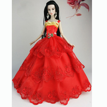Girl Birthday Gift Red Handmade Wedding Gown Dresses Clothes Outfit Girl Party For Princess Doll Xmas Gift(China (Mainland))