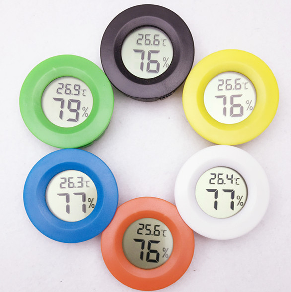 hot digital LCD temperature tester instruments measuring round gauge Humidity Meter colorful 50% off(China (Mainland))