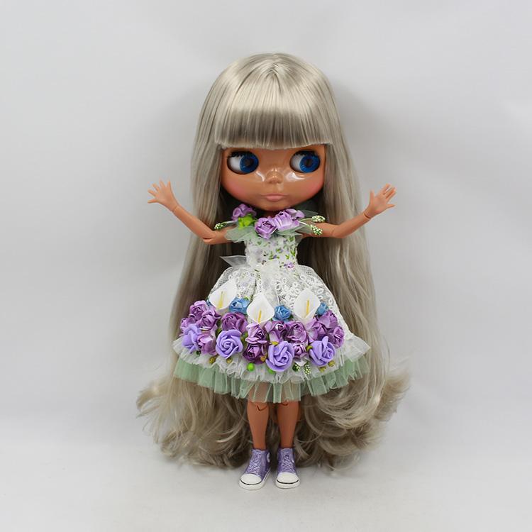 Фотография 2015 cute 30cm fashion doll Blyth grey long wig with bangs nude doll diy joint body limted edition dolls for girls