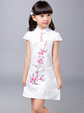 Jacquard Cotton Cheongsam Embroidered Plum Pattern for Kids Dress Summer Party Dress Girl