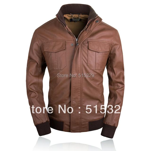 THOOO fashion high quality hot sale slim gentlemen pu faux leather jacket coat motorcycle black brown 7 sizes TM201309013