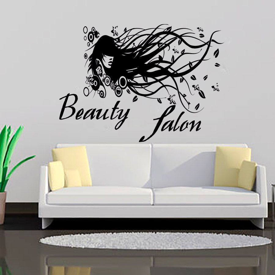 Modern Beauty Salon Long Hair Lady Art Wall Sticker Vinyl