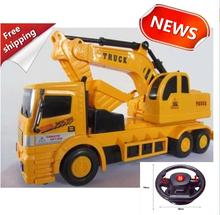 Children's cars toys gifts,1:22 Wireless Excavator , 4-channel  remote control, Large excavator truck, free shipping(China (Mainland))