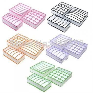Set 3 Pcs Polka Dot Foldable Organizer Storage Box For Bra Ties Underwear Socks Leggings Stockings Home organizadores(China (Mainland))