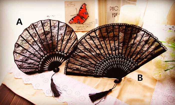 Creative wedding party decoration lace fan lady bridal cotton fan Photography prop folding fan free shipping(China (Mainland))