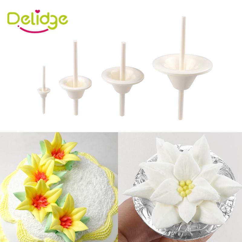 4 pc /Set Lily Flowers Cake Decoration Mold Plastic Flower Cake Stand Nail Decoration Needle DIY Handmade Maker Mold Nail Tool(China (Mainland))