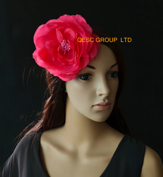 Red soft 15cm silk flower flower fasinator handmade flower.with brooch pin hair clip.(China (Mainland))