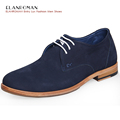 ELANROMAN Luxury Mens Shoes Increasing Insole Men business Style Genuine Leather Leisure Shoes Casual Nubuck Derby