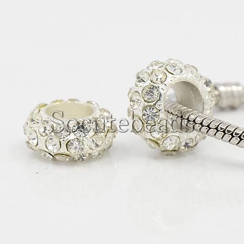 Alloy Rhinestone European Beads, Large Hole Rondelle, Platinum Metal Color, Crystal, 11x6mm, Hole: 5mm - So Cute Beads store