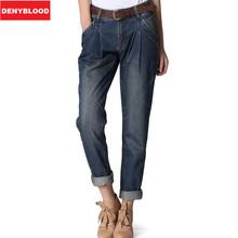 Plus Size 26-34 Washed Boyfriend Jeans for Women Harem Pants Loose Fit Vintage Stonewashed Denim Bike Cargo Casual Pants B528