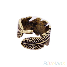 Antique Women s Men s Leaf Feather Ring Finger Ring Fashion Jewelry 1QL1