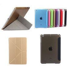 """TLP-BX Ultrathin PU Leather Case For iPad Mini 1 2 3 retina 7.9"""" Stand Plastic Back Color Transparent Smart Cover Protective(China (Mainland))"""