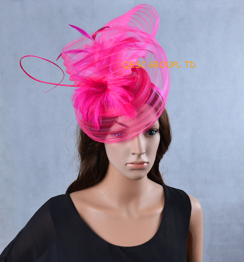 Fuchsia hot pink LARGE Sinamay Hat Fascinator crin fascinator with feathers and long ostrich spine for Kentucky Derby,wedding.(China (Mainland))