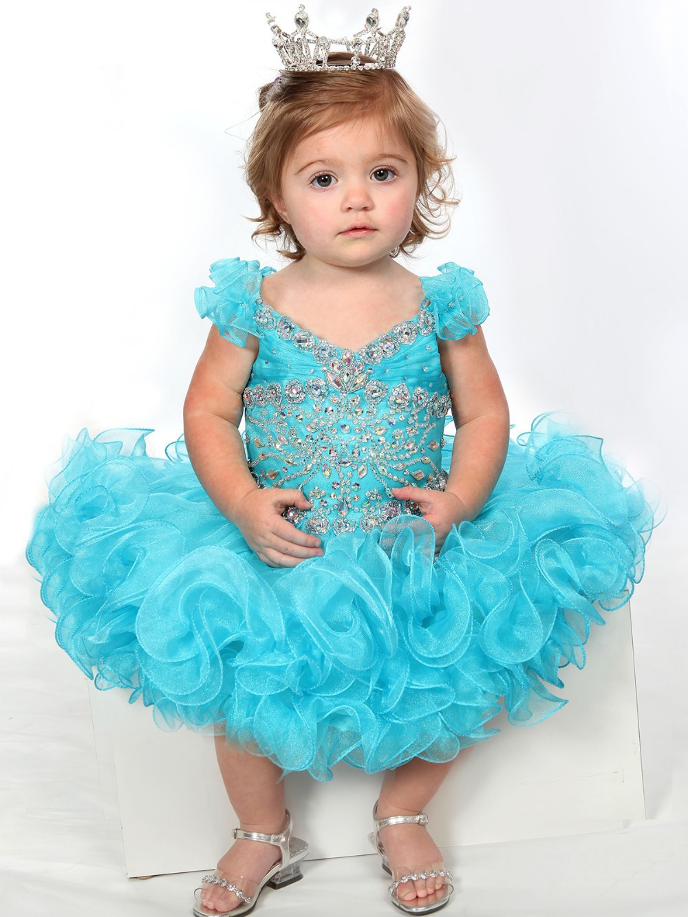 2014 turquoise beads crystals short sleeves instant baby girls pageant dress cupcake style tutu ruffled 6 month-2-14 years old(China (Mainland))