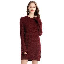 סתיו חורף עבה חם סוודר שמלת נשים סקסי O-צוואר שמלת נקבה ארוך שרוול סרוג שמלת Femme Vestidos בתוספת גודל(China)