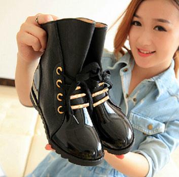 2015 Women Motorcycle boots Autumn Leather ankle boots Women Shoes Platform Shoes Rain botas femininas(China (Mainland))