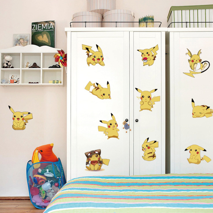 Free shipping Pokemon Go Pikachu Cartoon Wall stickers Children's room Shower Room Ceramic tile Glass stickers Wholesales(China (Mainland))