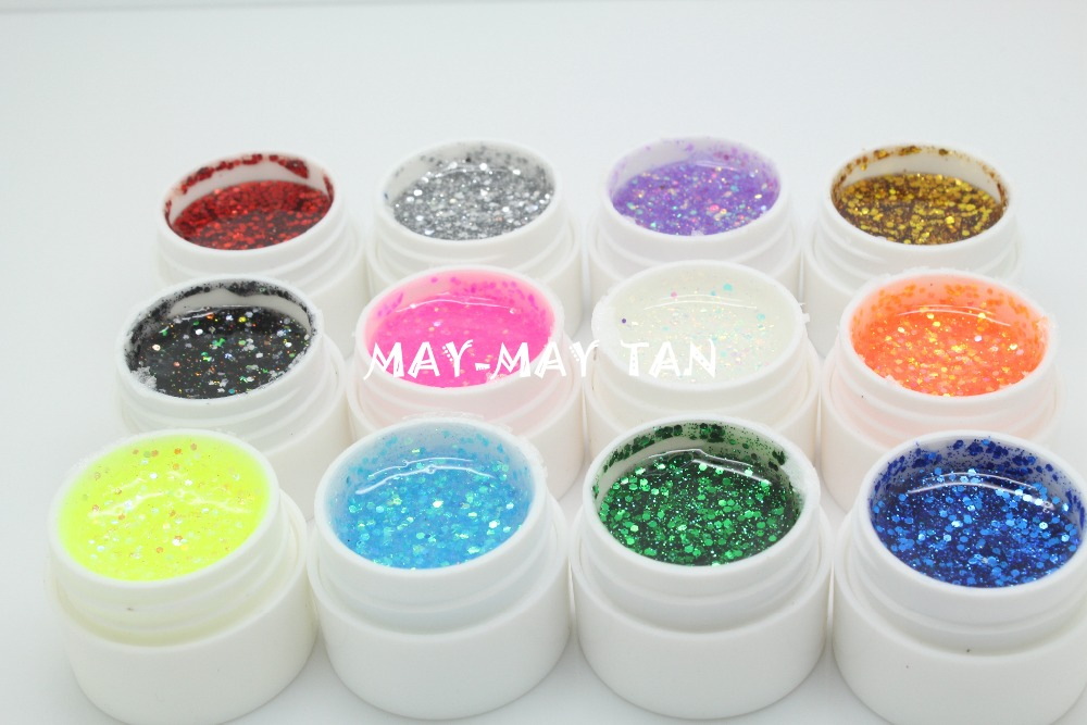 12 Pcs/Lot 12 Glitter Paillette Nail Mix Color UV Builder Gel Nail Art Tips Shiny gel Cover Extension Manicure(China (Mainland))