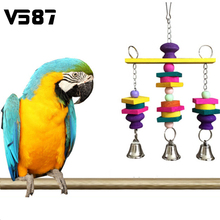1Pcs Pet Bird Cage Hanging Toy Colorful Natural Wooden Blocks Swing With Bells Funny Chew Toys For Parrot Budgie(China (Mainland))