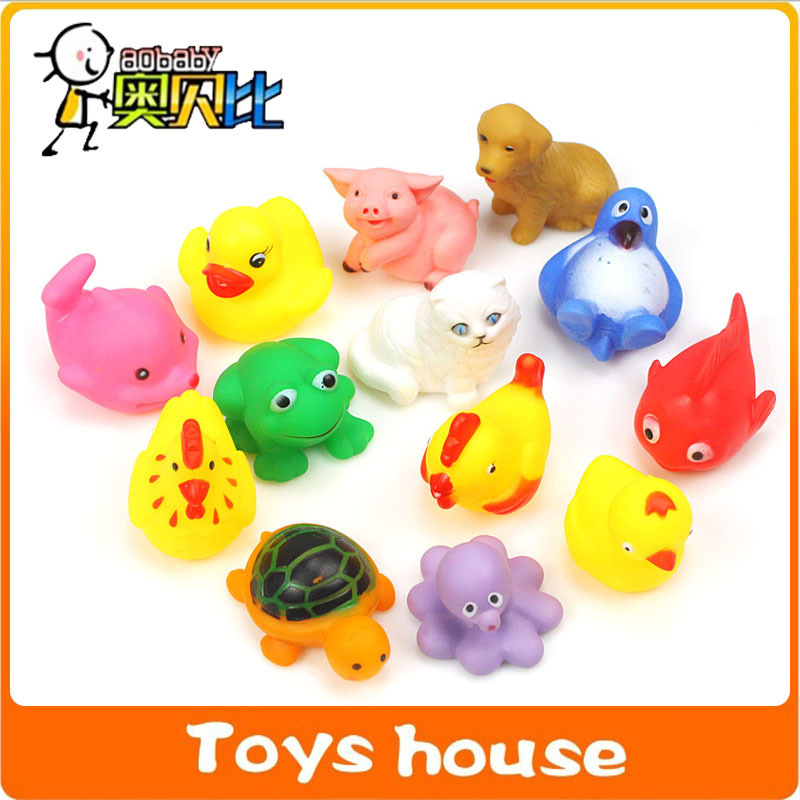 13pcs Cute Soft Rubber bath animal Water baby toys for bathroom rubber toy animals Pool Sand Toys Sounding Toys(China (Mainland))