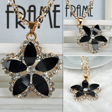 Artificial Crystal Flower Shape Chain Sweet Pendant Long Necklace Women Fine Jewlery  free shipping F60SS0083#S5