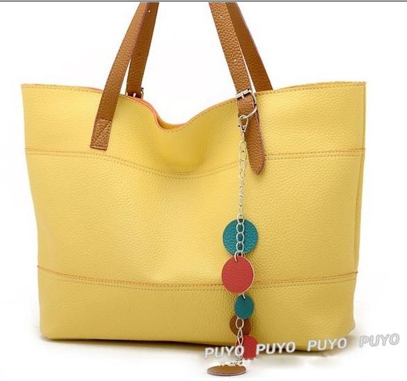 Fashion Leather handbag women Cute strip shoulder bags Shopper tote bag clutch Red Pink Black yellow 5688(China (Mainland))