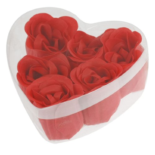 2015 Hot New 6 Pcs Red 3 x 4cm/ 1.2 x 1.6 Scented Bath Soap Rose Petal in Heart Shape Box(China (Mainland))