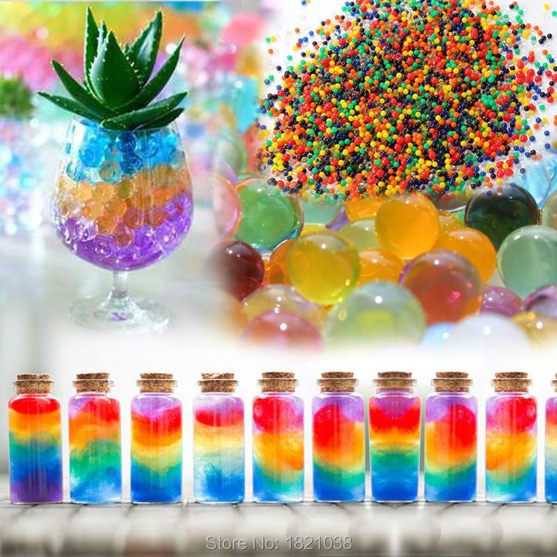 1000 particles /lot water beads Pearl shaped Crystal Soil Water Beads Mud Grow Magic Jelly balls wedding Home Decor hydrogel j01(China (Mainland))