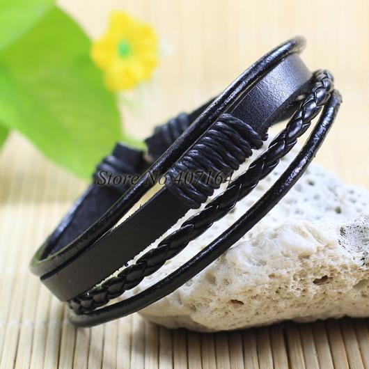 SF123-Jewelry Items Multi Layers Black braided thin Genuine Leather Bracelet Men Unisex Wristband Women - SunFlower Trade Co.,Ltd store