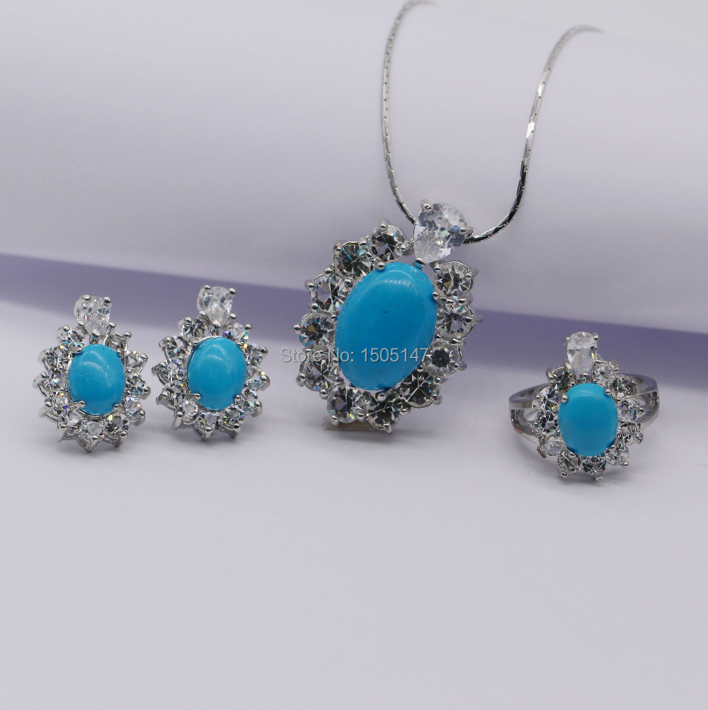 Vintage Delicate Jewelry Set 18kt Gold Plated Natural Turquoise CZ Sunflower Pendant Necklace Earring Ring Set(China (Mainland))