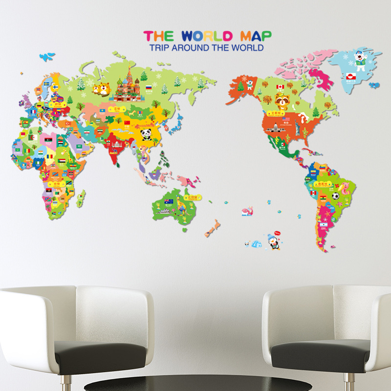 The World Map Wall Stickers Wall decals Wall tattoos DIY Vinyl Wall Decal Applique(China (Mainland))